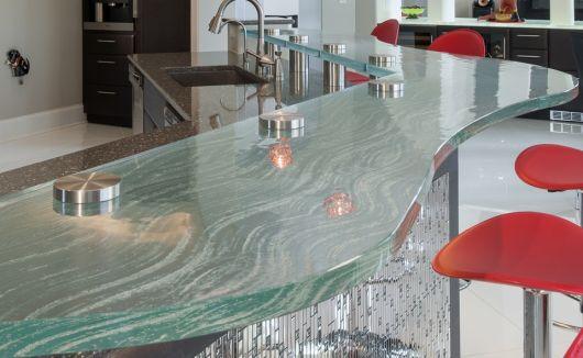 bancada de cozinha em vidro