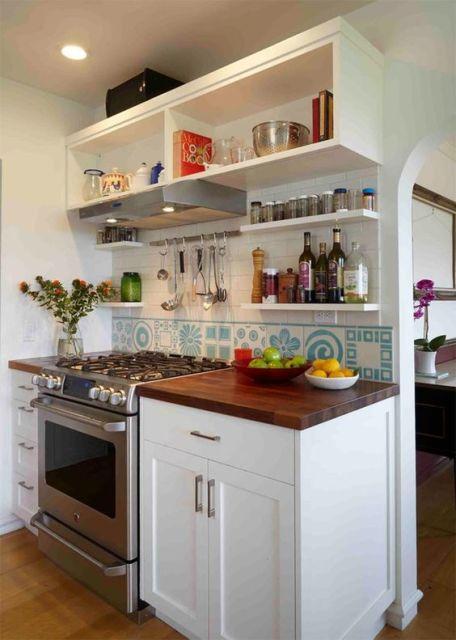 bancada de cozinha madeira pequena
