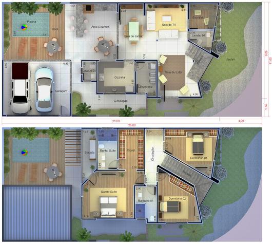 45 casas de esquina fachadas projetos e plantas incr veis for Casa moderna 7x20