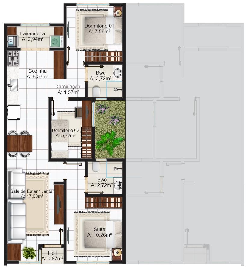 Planta casa com 3 quartos