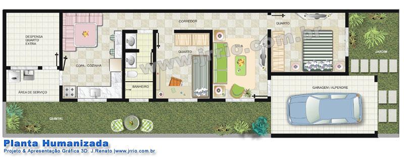 Casa térrea com jardim