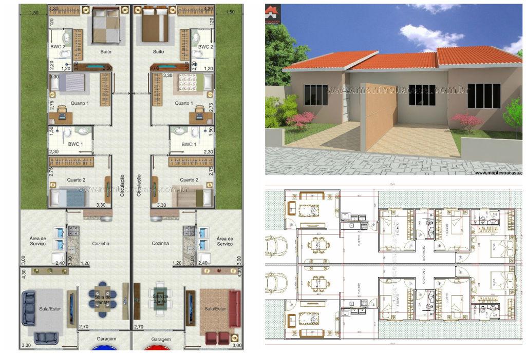 Conhecido Casas geminadas: dicas, plantas e projetos! XZ03