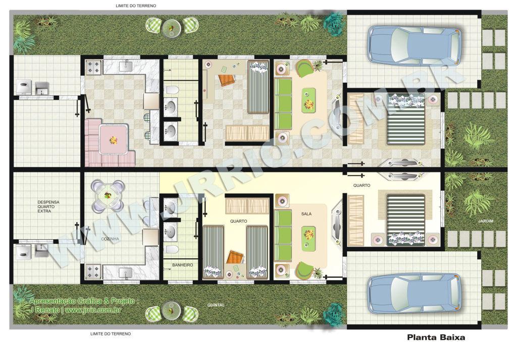 Casas geminadas dicas plantas e projetos for Plantas para casa