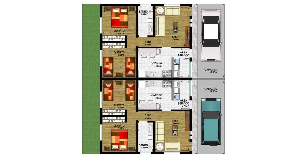 Planta casa térrea 2 quartos