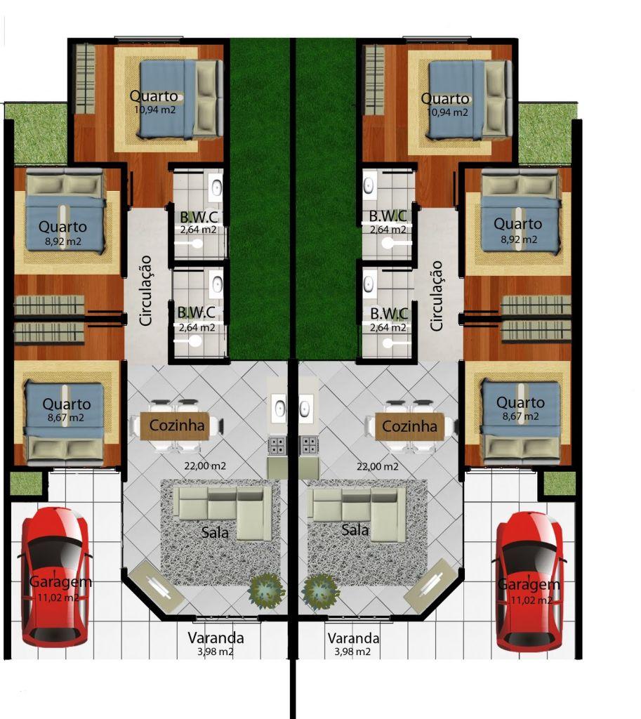 Planta humanizada 3 dormitórios