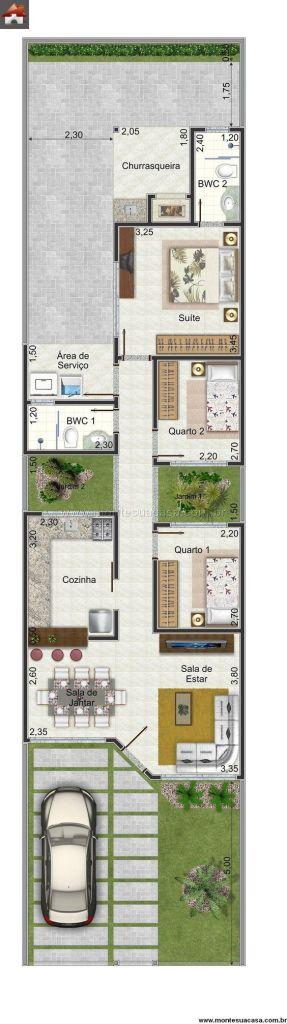 Planta casa com churrasqueira