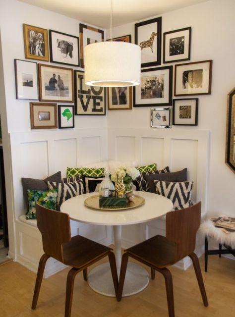 fotos de mesa de jantar redonda pequena e branca