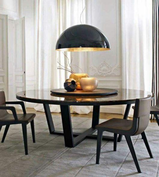 fotos de mesa de jantar redonda preta