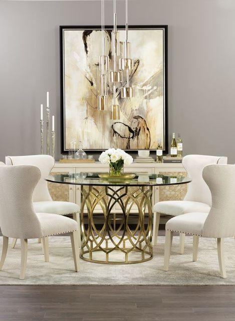 mesa de jantar redonda de vidro clássica