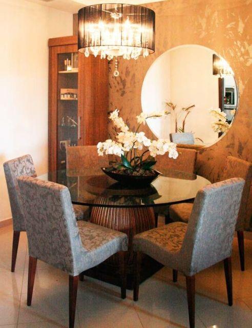 mesa de jantar redonda de vidro
