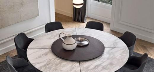mesa de jantar redonda giratória chique