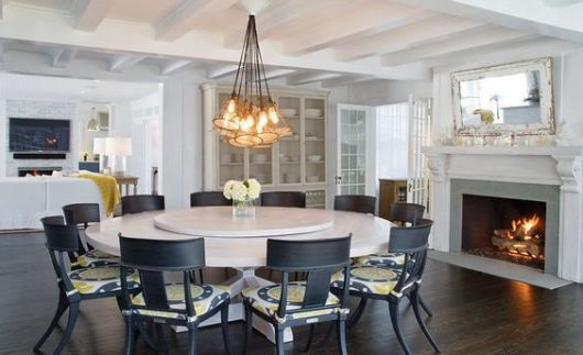 mesa de jantar redonda giratória clean