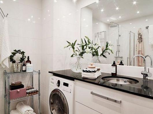 Decoração banheiro com lavanderia