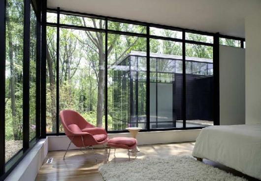 parede de vidro para o quarto