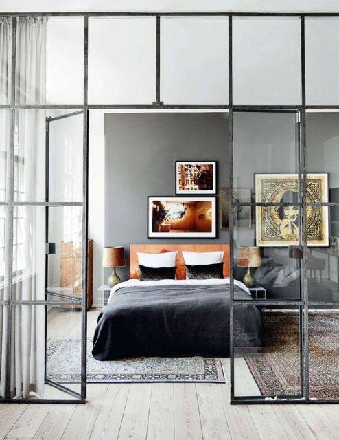 parede de vidro quarto moderno