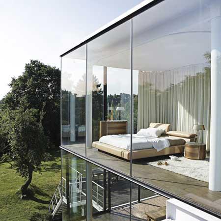 parede de vidro quarto