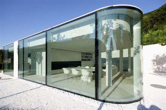 parede de vidro redonda