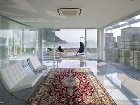 parede de vidro sala