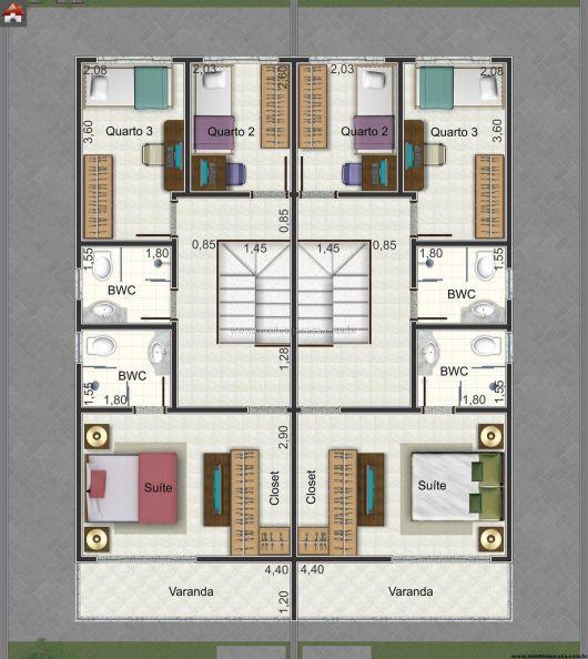 Planta humanizada sobrado 3 dormitórios