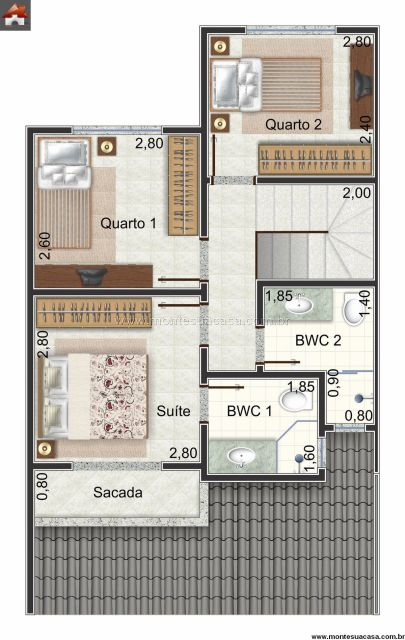 Planta 3d sobrado 3 dormitórios