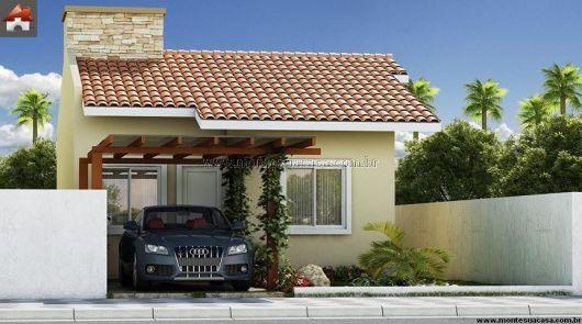 Fachada casa térrea simples com 2 quartos