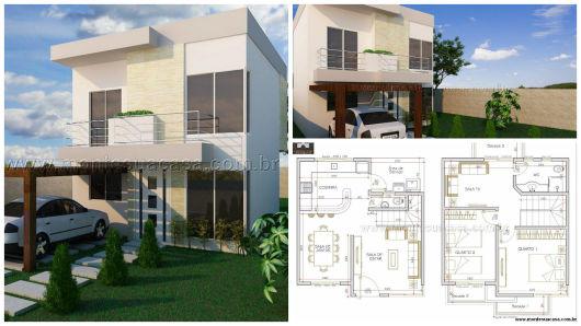 planos de casas de dos pisos pequenas en 3d