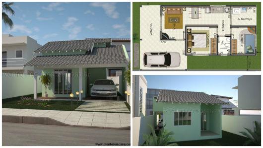 Projeto 3d casa com 2 quartos