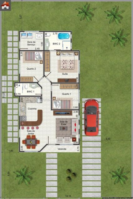 Casa térrea 3 quartos com suíte