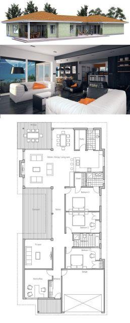 Projeto e planta de casa com varanda