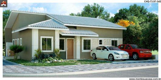 Fachada casa térrea com telhado aparente