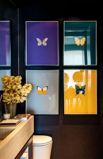 quadros para banheiro borboletas