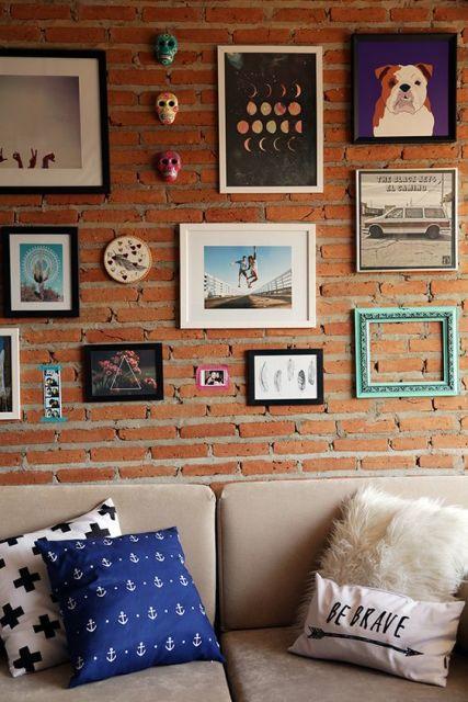 Decoração parede tijolo a vista