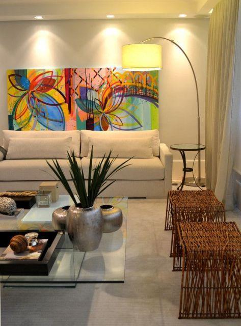 Sala De Estar Com Quadros Modernos ~ no sala mesa de centro de vidro