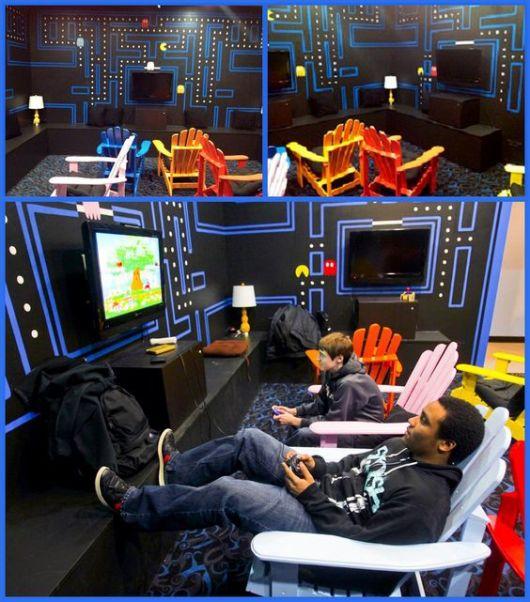 sala de jogos pequena e simples de videogame