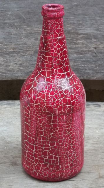 Garrafa decorada vermelho