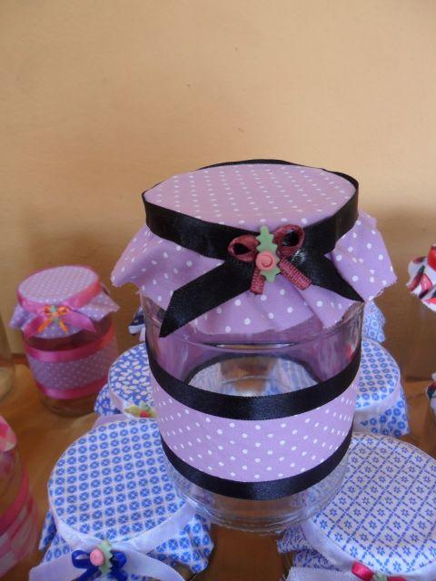 Potinhos com tampa decorados tecido