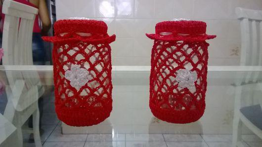 Potes decorados crochê