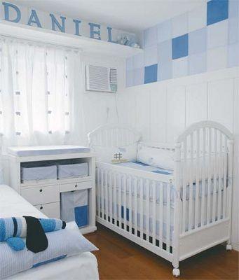 Cortinas para Quarto de Bebê branca com azul