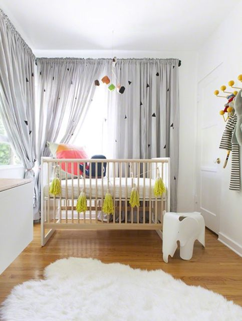 Cortinas para Quarto de Bebê branca com etsampa