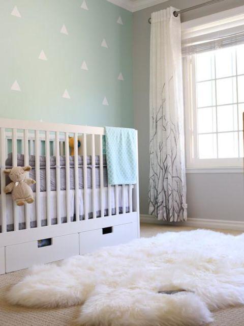 Cortinas para Quarto de Bebê branca com galhos