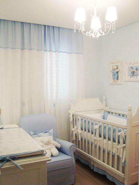 Cortinas para Quarto de Bebê branca e azul
