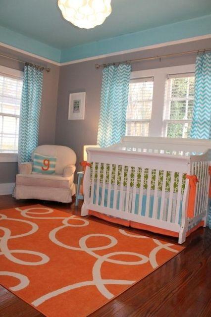 Cortinas para Quarto de Bebê colorida azul