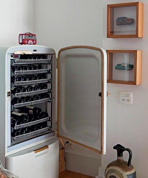 adegas em geladeira retrô