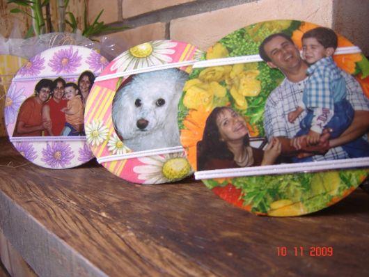 porta retrato cd e tecido