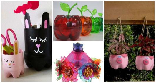Aparador Para Sala De Estar Moderno ~ Artesanato com garrafa PET 76 ideias incríveis e tutoriais!