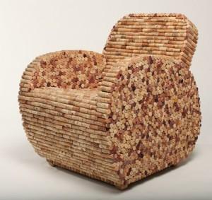 cadeira de rolhas de vinho artesanato com rolhas