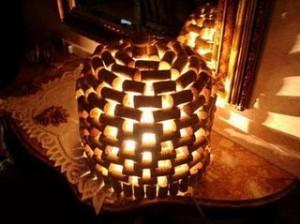 artesanato com rolhas luminária