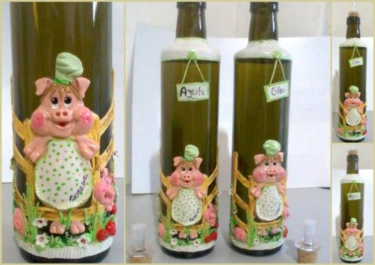 artesanato em garrafa de vidro Porquinho