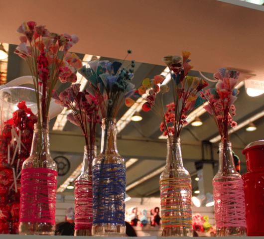 artesanato em garrafa de vidro barbante