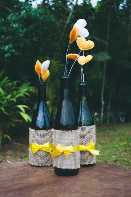 artesanato em garrafa de vidro com feltro
